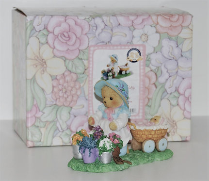Cherished Teddie Friend Bear with flowers and Baby bear in pram.