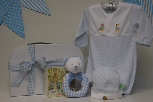 Baby boy blue and white stripe with animal embroidery