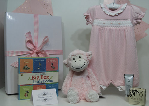 Pink smocked romper with Monkey deluxe