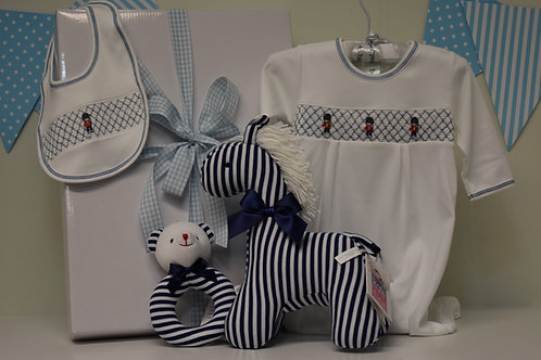 Guard smocked suit with bib