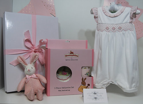 White Smocked suit with bunny