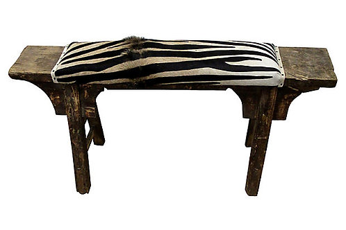 Antique Shandong Bench w/ Hair-on-Hide