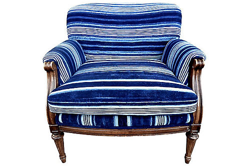 Vintage Mali Indigo Blues Striped Chair