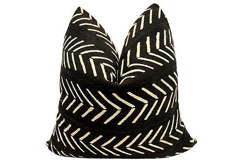 African Mud Cloth & European Linen Pillow