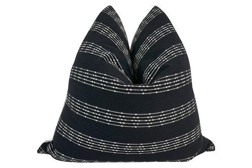 FI Woven Black & White Stripe Pillow