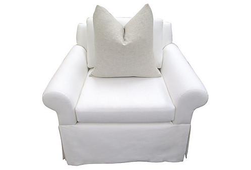Custom Hand Built Skirted Club Chair Meticulously Upholstered In Crisp  White European Linen. Classic Comfort And Style With Ultra Plump  Down And Feather ...