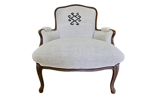 SOLD Vintage Berber Handwoven Natural Bergere Chair