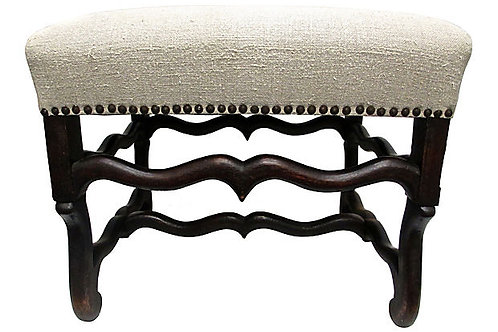 Antique Ottoman w/ Handwoven Natural French Linen