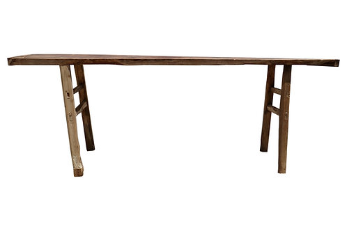 """Vintage Asian Distressed  82""""L Wooden Console Table"""