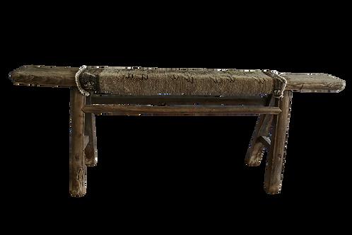 FI Antique Shandong Elm Bench w/ Anatolian Kilim