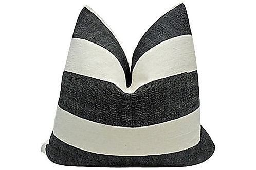 Black & Ivory Linen w/ French Linen Pillow