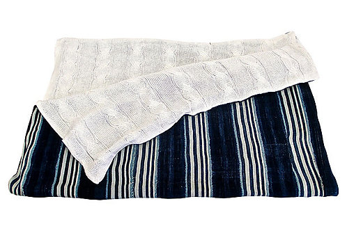Mali Indigo Blues & Cable-Knit Throw