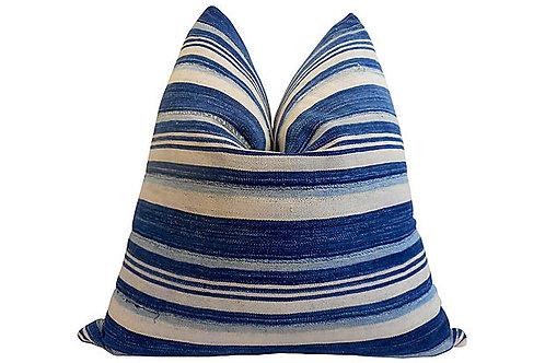 Fi Tribal Indigo Stripe & Chambray Pillow