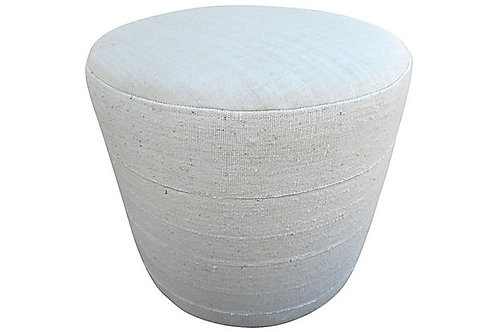 Natural African Mud Cloth Round Ottoman