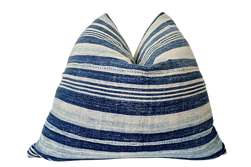 FI Vintage Faded Indigo Stripe Pillow