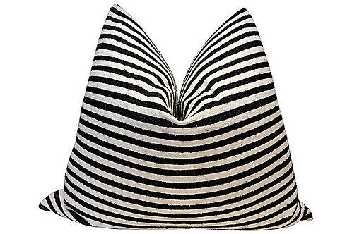 Black Striped Large Hand-Spun Pillow