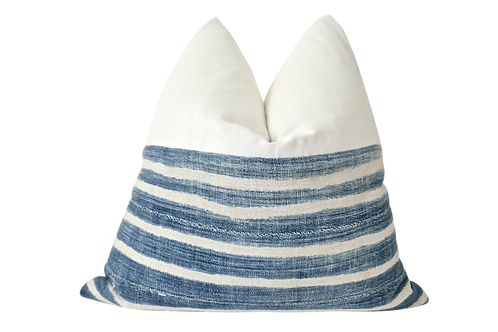 FI Vintage Faded Indigo Banded Pillow