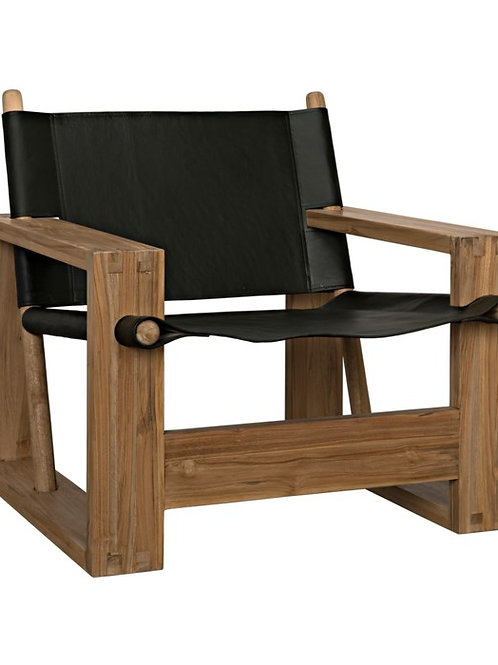 Wood & Leather Accent Chair