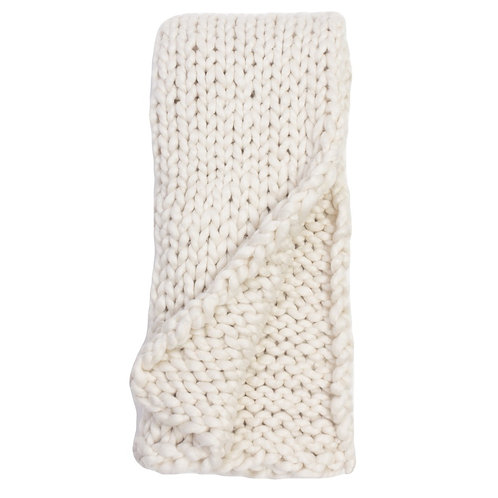 Heavy Gauge Cable-Knit Throw/Ivory