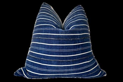 SOLD Mali Vintage Indigo Blues & Linen Pillow