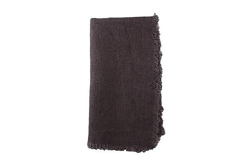 European Linen Fringed Charcoal Grey Napkin