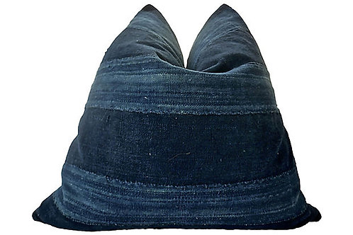 SOLD African Hand-Spun Indigo Blues Pillow
