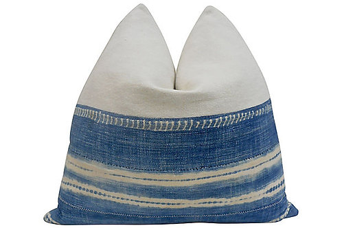 French Linen Pillow Accented w/ Faded Indigo
