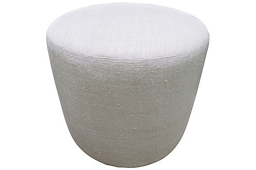 Round Ottoman w/ Antique Hand-Spun Natural Linen