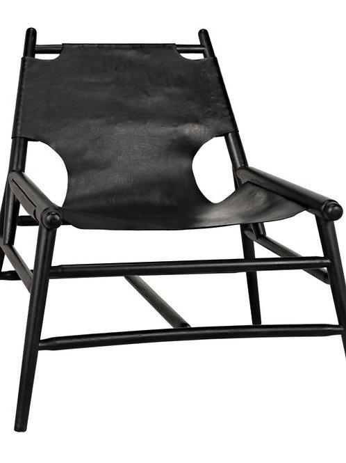 Sleek Wood and Leather Chair