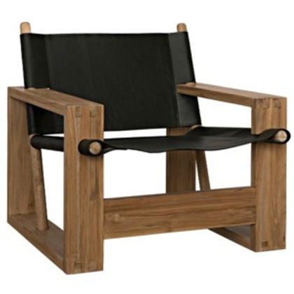 Teak & Leather Accent Chair
