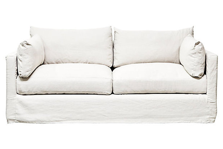 Flax Linen Slipcovered Sofa