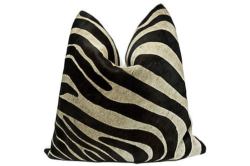 FI Zebra Pattern Hide & French Linen Pillow