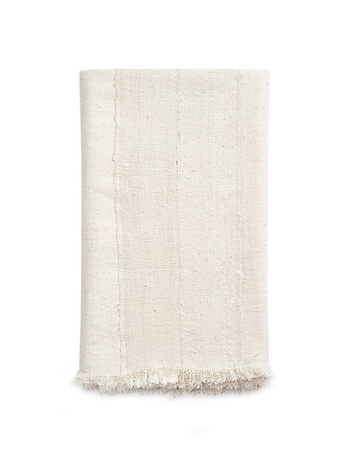 Natural African Mud Cloth Throw w/Fringe Detail
