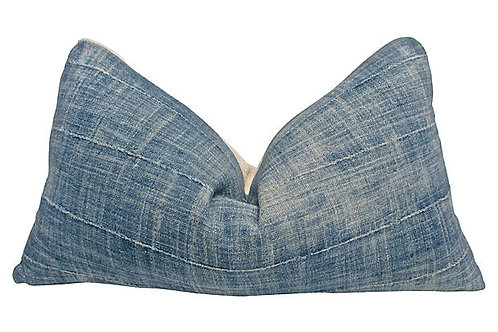 African Faded Indigo & Natural Mud Cloth Pillow