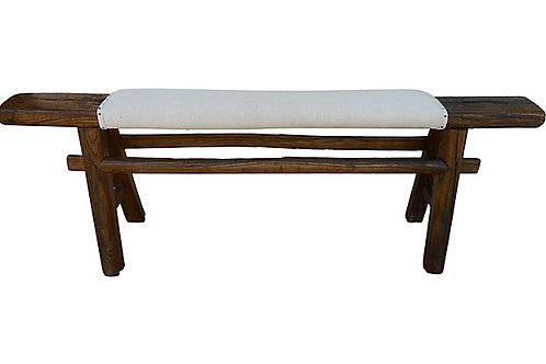 Antique Shandong Bench w/ Antique French Linen
