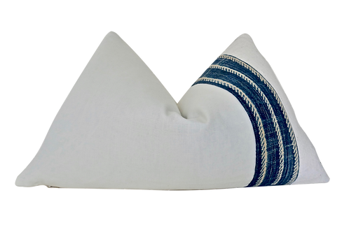 Fragments Identity White Linen & Indigo Pillow