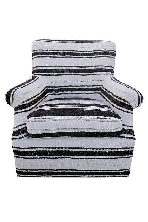 FI Berber Kilim Wool & Goathair Swivel Club Chair