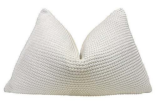 White Fine Gauge Knit & White Linen Pillow