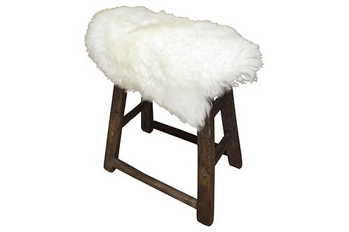 Antique Shandong Elmwood Stool w/ Lambswool