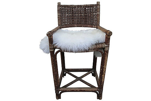 Vintage Maguire Rattan & Rawhide Laced Barstool