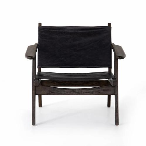 Nubuck Black Leather Sling Chair