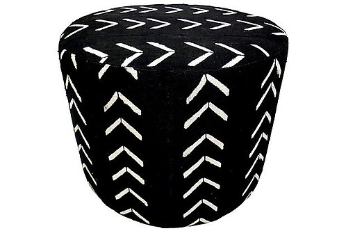 Mali Hand-Spun Black & Natural Ottoman