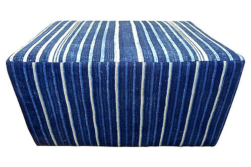 SOLD Vintage Mali Indigo Stripe Custom Ottoman