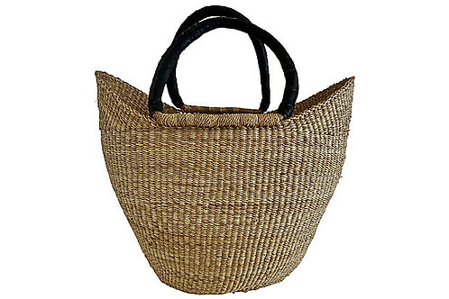 SOLD African Rattan & Leather Basket/Tote