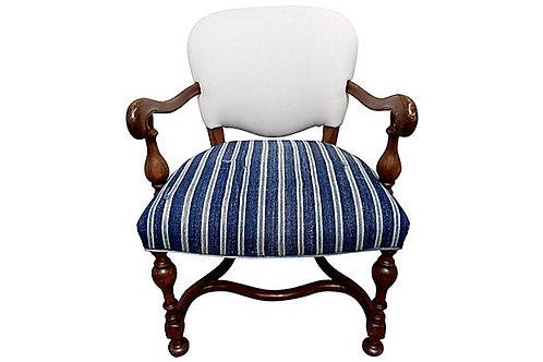 SOLD Vintage Mali Stripe & French Linen Chair