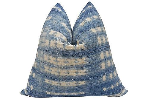 Italian Buckskin Suede & Mali Indigo Pillow