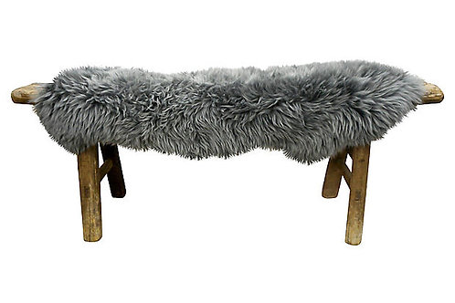 Antique Shandong Bench w/ Natural Lambswool