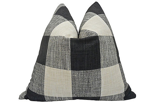 Black & Natural Plaid Linen Pillow