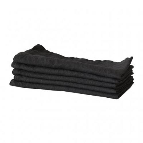 Garment-Washed Black Linen Table Napkins, set/5