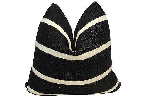 Black & Ivory Wool & Antique Linen Pillow